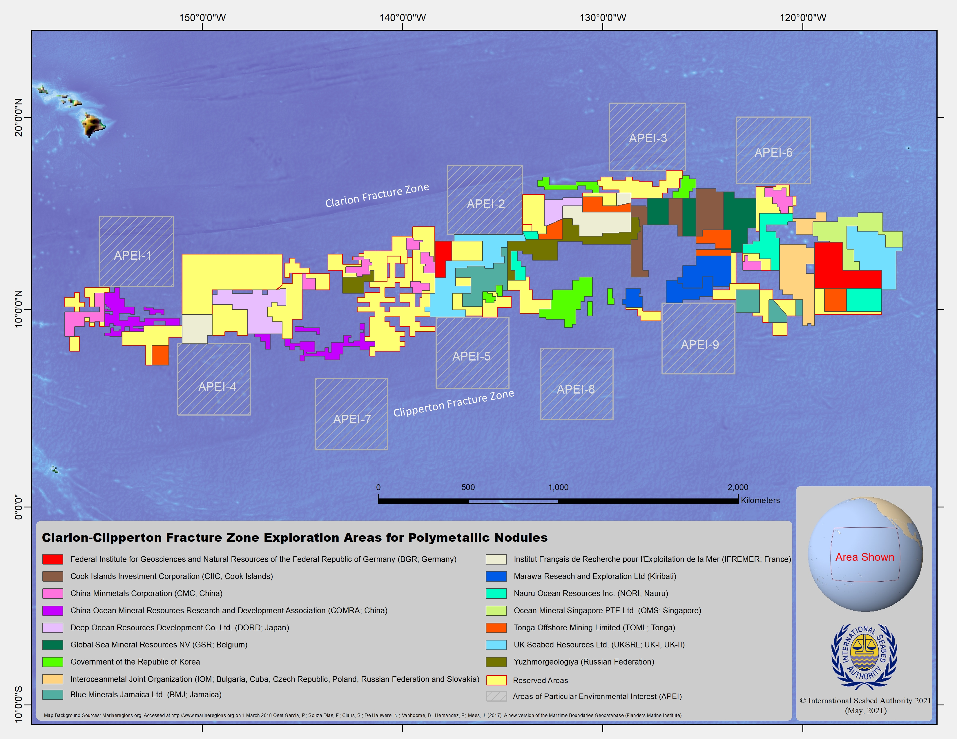 Clarion Clipperton Fracture Zone map