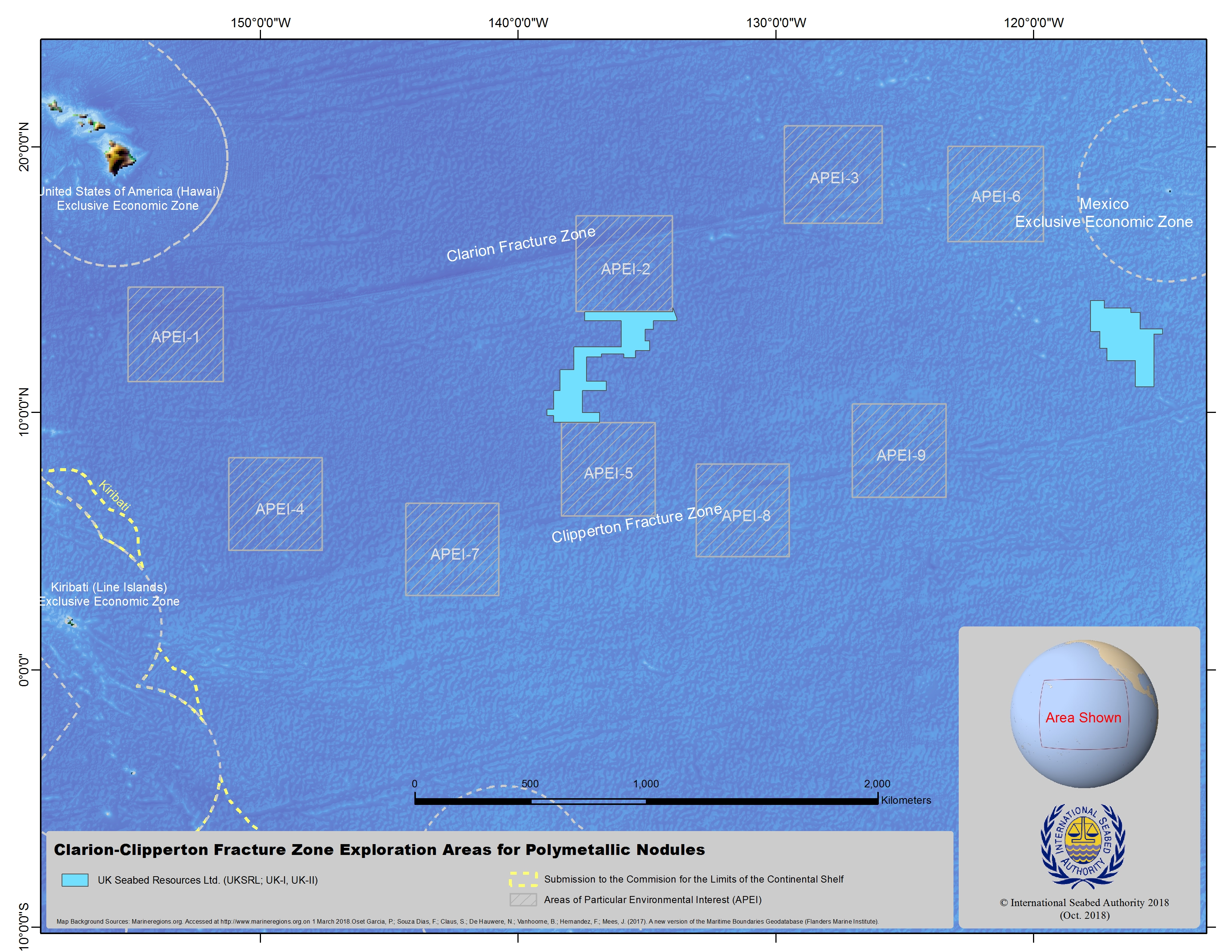 Map of Clarion Clipperton Fracture Zone