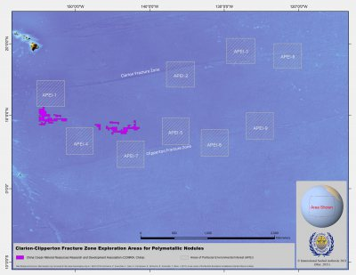 China Ocean Mineral Resources Research and Development Association map