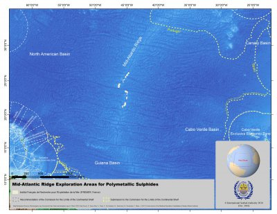 Map of Mid Atlantic Ridge